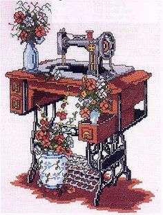Old singer sewing machine cross stitch