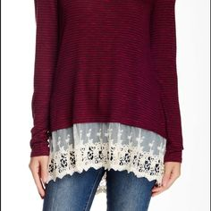 Long sleeve lace underlay pullover NWOT. Racer back with lace underlay. Burgundy. Super soft. Very cute and flirty. Purchased from Nordstroms, really not my style and never got around to returning it. I only tried  it on but never wore it. Jolt Tops Tees - Long Sleeve