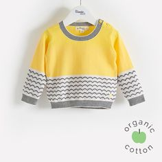 GRIBBLES Organic Cotton Yellow Baby and Kids Sweater