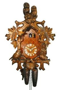 Amazon.com: German Cuckoo Clock 8-day-movement Carved-Style 16 inch - Authentic black forest cuckoo clock by August Schwer: Home & Kitchen