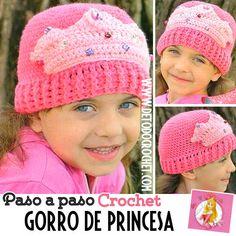 Gorro crochet paso a paso para nena con motivo de corona de princesa Gorros  Para Dama d6750125e1f