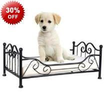 50cm Iron Frame Animal Pet Dog Bed & Cushion - Solid Iron Frame - Padded Cushion - Comfortable