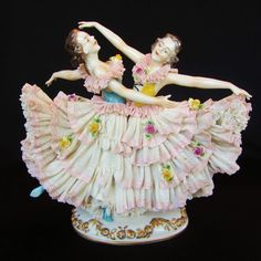 Antique German Porcelain Volkstedt Dresden Sister Lady Dancer Figurine