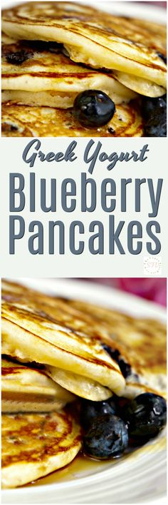Greek Yogurt Blueberry Pancakes- This is such a yummy recipe and there is no added sugar beyond the blueberries in it!