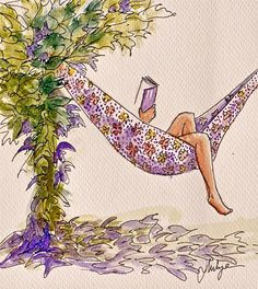 I found my reading spot. what are you reading? Source: A Purple Hammock and a Book! (Source By: Mia Thermopolis) Illustrations, Illustration Art, Reading Art, Girl Reading Book, Woman Reading, Reading Time, Reading Nooks, World Of Books, I Love Books