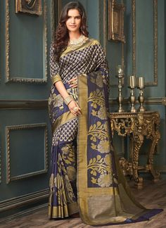 dc430c898fe Online saree shopping made easy! Shop this flamboyant navy blue designer  traditional saree for festival