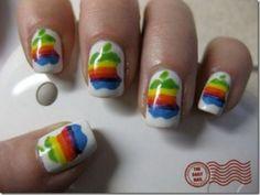 The Daily Nail: Apple Nails Crazy Nails, Love Nails, Fun Nails, Pretty Nails, Nail Art Designs, Fingernail Designs, Splatter Paint Nails, Wedding Day Nails, Manicure