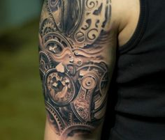 Steampunk tattoo by Victor Portugal. At Follow the Colours