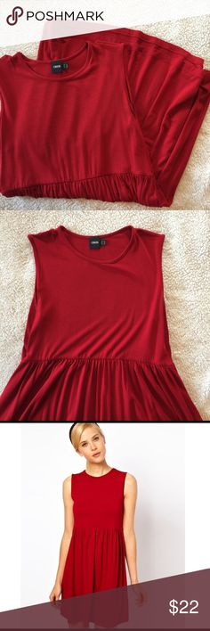 ASOS Babydoll Dress Cute red dress from ASOS. Perfect paired with leggings and boots. Relatively short, so probably shouldn't be worn alone. Size 10 but could easily fit anywhere from 8-16 because it's very stretchy. Depends on the fit you like. ASOS Dresses Mini