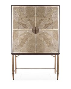 Cabinet doors feature pencil pole rattan finished in silver leaf then hand-applied in his unique design. Dark brown hardwood frame with metal legs finished in antique brass. Accented with grey limestone handles and two removable shelv Patio Bar Set, Pub Table Sets, Cabinet Furniture, Furniture Design, Loft Furniture, Furniture Storage, Furniture Ideas, Mahogany Cabinets, Counter Height Table