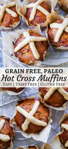 Have a healthy Easter with these grain free Paleo Hot Cross Muffins! Gluten free and dairy free, these are really easy to make and full of protein rich almond flour. Recipe by Nourish Everyday recipes dessert r Gluten Free Baking, Gluten Free Desserts, Grain Free, Dairy Free, Real Food Recipes, Dessert Recipes, Paleo Dessert, Dinner Recipes, Brunch