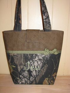 For @Reilly Butler - Mossy Oak Breakup Camo and Green Tote Purse by purse4you on Etsy, $45.00