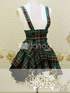 Blue Plaid Pattern Sweet Cotton Lolita Skirt