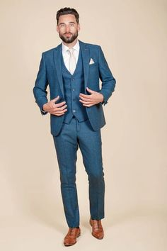 Click here to discover our collection of Men's 3 Piece Suits. Browse our vintage inspired designs in a variety of prints, colours & materials. Shop today! Classic Blue Suit, Classic Blues, Mens 3 Piece Suits, Three Piece Suit, Wedding Suits, Wedding Attire, Childrens Shop, Blue Chocolate, Suit Shop