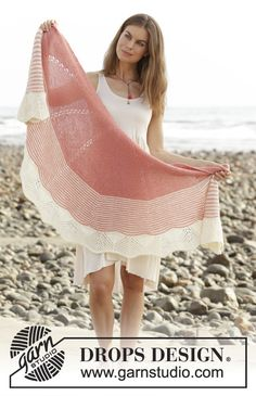Knitted shawl with garter stitch, lace pattern and semi-circle shape. The piece is worked top down in DROPS Flora.