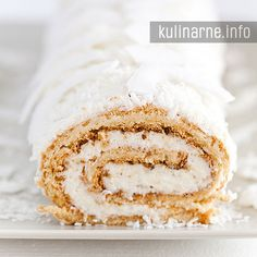 Rolada kokosowa Polish Desserts, Polish Recipes, Swiss Roll Cakes, Dessert Cake Recipes, Hungarian Recipes, Vanilla Cake, Sweet Recipes, Biscuits, Bakery