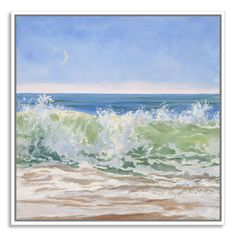 Gallery Direct Crescent Moon with Ocean Wave by Casey Chalem Anderson Framed Painting Print on Canvas & Reviews | Wayfair 38x38 or 50x50