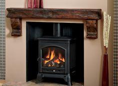 Deep Beam with Corbels: Extremely Aged Oak, Medium Dark Focus Fireplaces, Fireplace Surrounds, Fireplace Design, Log Burning Stoves, Wood Burning, Chair Design, Furniture Design, Design Design, Modern Furniture