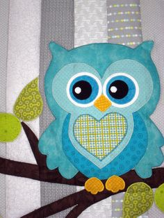 Owl Baby Quilt by DiamondGardenQuilts on Etsy