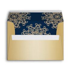 Indian Wedding Save the Date Gold and Navy Blue Indian Style Envelope