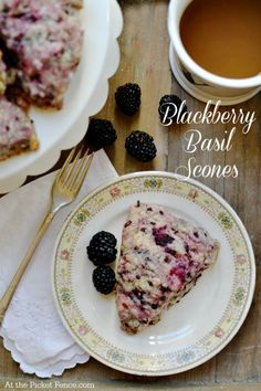 Blackberry basil scones recipe from atthepicketfence.com