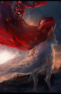 Miko and okami by sheer-madness.deviantart.com on @DeviantArt. Does that wolf have a... unicorn horn?