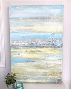 "Who is ready for some #summervibes ? This sweet Original Abstract Painting, ""Summer Fields"" is available on the site. 😊So, although it looks like a pretty day outside here in #temecula today... you go out and an icy wind gets you! 🌬I am already dreaming of Summer... anyone else? 🌴😎 By the way- I'd like to invite you to follow me @bluepalmhomes as well where I'll be sharing more of my local musings around so cal, home passions, and what inspires me. 💕. ✨Tap pic for shoppable link…"