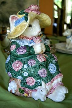 Fitz Floyd Easter Mother Rabbit Cookie Jar Mom Baby Bunnies Straw Hat