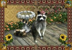 Andrea Leite Marques - Shapata The Raccoon Christmas Canvas, Raccoons, Dog Art, Border Collie, My Friend, Nativity, Goats, Native American, This Is Us