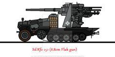 Sd.Kfz 251 (8.8cm Flak gun) by thesketchydude13.deviantart.com on @DeviantArt