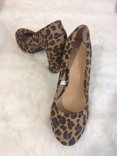 Details about Merona Womens 5.5 Leopard Animal Print Faux Fur Pump shoes  cylindrical Heels 1251b772e4987