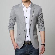 New suit men 4 colors casual jacket slim fit latest coat designs blazers men clothing one button M-5XL(Grey)