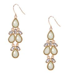 Mint and Gold-Tone Drop Earrings,