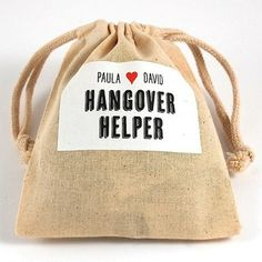 Showers & Bachelor/ette Parties - Drawstring Muslin Pouch Personalized Hangover Helper Kits by Gifts for the Good Life - NewlyWish.com