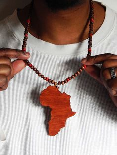 Africa necklace mens african necklace wood beaded necklace black mens africa necklace hip hop jewelry african necklace africa shape wood beaded necklaces africa map jewelry large african gift ideas for him aloadofball Image collections
