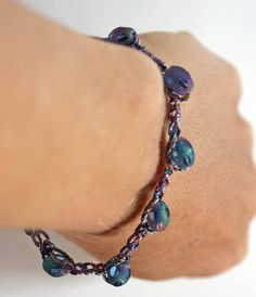 Blue and Purple Crochet Bracelet With Cathedral Beads