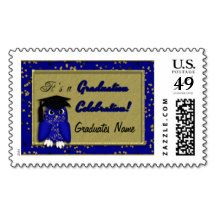 Graduation Postage Stamps, Blue Owl Confetti #zazzle #postage #stamps #zazzleparty #graduation #blue