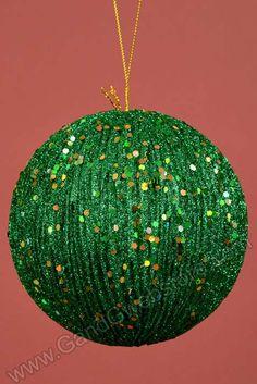 """5"""" GROVED GLITTER BALL DARK GREEN - GandGwebStore.com"""