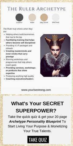 Discover Your Natural Talents That Lead To Your Profitable Life Purpose Jungian Archetypes, Brand Archetypes, Superpower Quiz, Helping Others, Helping People, Book Writing Tips, Alpha Female, Life Purpose, Business Branding