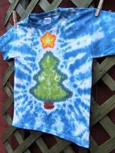 Christmas Tree Tie Dye Tshirt  Youth XS   Ready to by twirlytoes, $18.00