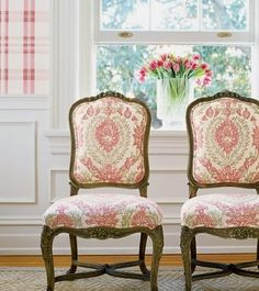 Haleema –Fabric Collection Cypress Colorway Red and Beige SKU Thibaut French Sofa, Pink Houses, Painted Chairs, Vintage Chairs, Living Room Chairs, Dining Room, Take A Seat, Spring Home, Antique Furniture