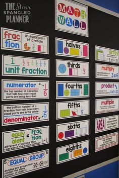 I love the visual math wall. We're focusing on academic vocabulary this year, but this is a great way to make sure kids remember what the words mean.