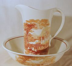 Royal Crownford Ironstone Staffordshire Scenic, Pitcher & Bowl Set.