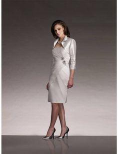Glamorous Strapless Knee Length Ivory Taffeta Sheath Column Mother Of The Bride Dress With Jacket