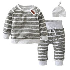 Grey/White Striped Outfit Set