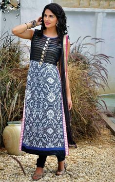 Picture of Aesthetic Black and White Color Fancy Salwar Kameez