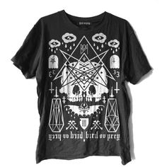 OVERKVLT Bird Ov Prey ($40) ❤ liked on Polyvore featuring tops, t-shirts, shirts, blusas, graphic tees, bird print top, graphic t shirts, t shirts and graphic print t shirts