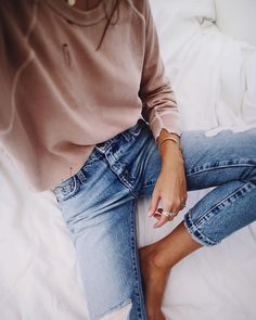 Cozy blush + denim.