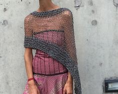 Gray sheer poncho coverup LAST ONE in this shade by ileaiye Poncho Sweater, Cropped Sweater, Crochet Poncho, Knit Crochet, Make Your Own Clothes, Knit Patterns, Boho Fashion, Knitted Hats, Knitwear