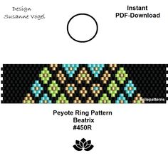 peyote ring pattern,PDF-Download, #450R, beading pattern, beading tutorials, ring pattern,pdf file,pdf pattern,pattern design,bellepatterns von bellepatterns auf Etsy
